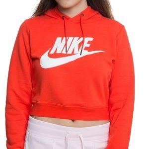 Orangey red Nike cropped hoodie 🍊